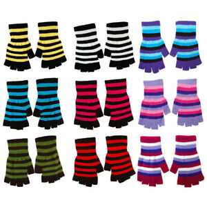 Striped Stripey  Magic Unisex One Size Fingerless Gloves Emo Gothic #Punk