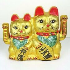 "Gold Maneki Neko Japanese Beckoning Fortune Money Lucky Cat Couple Arms Wave 10"""