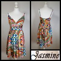 Jasmine London Colourful Bold Floral Abstract Print Strappy Summer Dress Size L