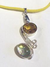 placcato argento ciondolo con giallo scamosciato collana cg1421