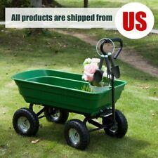 Garden Dump Cart Wheelbarrow Dumper Wagon Carrier Utility Air Tires Heavy Duty
