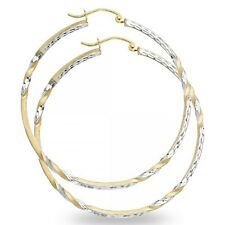Round Curled Diamond Cut Hoop Earrings 14k Yellow White Gold Satin Finish Fancy