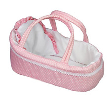 Pink Baby Dolls Carry Cot Bed With Pillow Handles Sleeping Bag Carrier