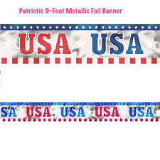 Patriotic Metallic Foil Banner 4th July Patriotic Party Decoration Supply ~ 9ft