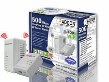 Addon NHP5010BD1 500Mbps Homeplug AV500 Wi-Fi Booster/Extender with 2 LAN Ports
