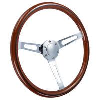 15 inch Alloy Wood Grain Trim Classic Wooden Chrome Spoke Steering Wheel Wooden