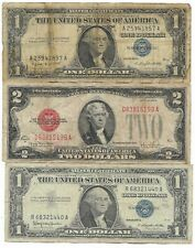 Rare Old US Red Seal 1928 Blue 1957 Silver Certificate Dollar Bill Collection