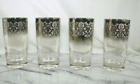 Vintage MCM Set 4 Dorothy Thorpe Silver Fade Mid Century Modern Hi Ball Glasses