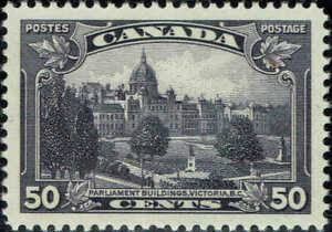 """CANADA #226 1935 50c """"PARLIAMENT BUILDINGS,VICTORIA,BC"""" ISSUE MINT-OG/NH-XF/SUP"""