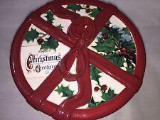 WILLIAMS SONOMA VINTAGE CHRISTMAS POSTCARD COOKIE JAR