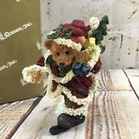 "Santa Teddy Bear 4"" Figurine Skating Skates Christmas Gift Home Holiday Decor"