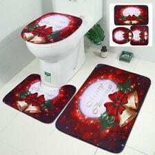 3Pcs Non-slip Soft Bath Pedestal Mat Toilet Lid Carpet Bathroom Washable Rug Set