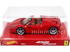 HOT WHEELS BLY64 FERRARI 458 SPIDER 1/24 DIECAST MODEL CAR RED