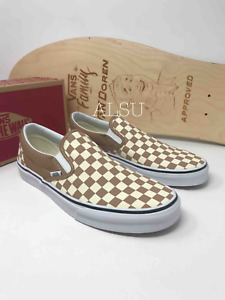 VANS Classic Slip On Checkerboard Tger's Eye Canvas Men's Brown VN0A38F7QTK