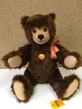 """Steiff Original Vintage Mohair Teddy Bear 21"""" EAN 011153 Ear Button 2 Tags VG"""