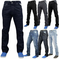 Enzo Mens Jeans Straight Leg Regular Fit Denim Pants Trousers All Waist Sizes