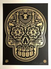 Shepard Fairey - Power & Glory Day of the Dead Skull (Gold) KAWS BANKSY INVADER