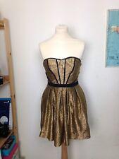 Vestido sin tirantes de fiesta oro increíble Urban Outfitters Ecote Tamaño XS 6-8UK
