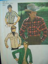 "Vintage Simplicity Pattern 7698 Men's Shirt Size 40 Neckband: 15.5"" Cut Pattern"
