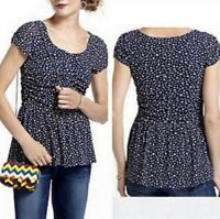 Anthropologie Postmark Polka Dot Navy Blue White Peplum Blouse Top Medium Ruched