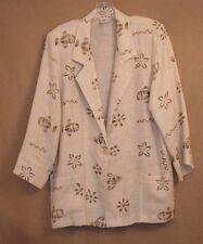 Modern Essentials Womens Blazer Size Medium 3/4 Sleeves Cream Linen Blend
