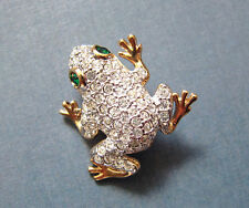 New Toad Frog Genuine Clear Green Crystals Gold Plated Pin Brooch