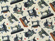 FAT QUARTER  STITCH IN TIME  VINTAGE  SEWING MACHINES QUILTING COTTON FABRIC  FQ