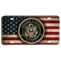 United States Army Emblem American Flag Design Aluminum License Plate