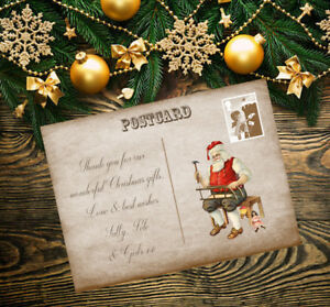 Personalised Christmas Xmas Thank You Cards Postcard Including Envelopes 12
