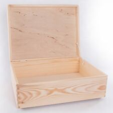Large Wooden Storage Box With Lid / Pinewood Trunk To Decorate 40x30x14 cm