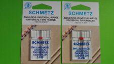 2 Zwillingsnadel /Doppelnadel, für Nähmaschinen-1,6- 2,5 mm Stärke 80 System 130