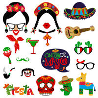 Amosfun 20PCS Fiesta Photo Props Mexican Photo Supply for Party Wedding Birthday