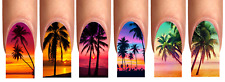 Wraps Nail Art Tattoo Fullcover  Palmen Sonnenuntergang Sommer Urlaub S-XL #20