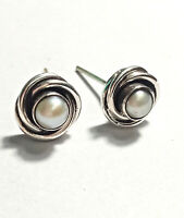 Freshwater Pearl Stud Earrings 925 Sterling Silver Handmade Jewelry Bridal Gift