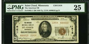 POP of 1 Rare St. Cloud MN $20 1929 Type 2 National Banknote low 2 digit serial