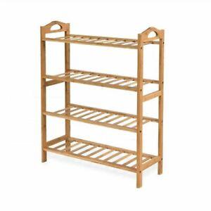 4 Tiers Layers Bamboo Shoe Rack Home Organizer Storage Shelf Stand Shelves