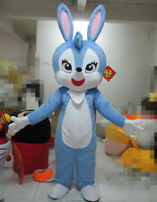 Hot Blue Bunny Easter Rabbit Mascot Costume Cosplay Bug Professional Party Dress
