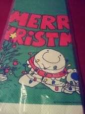 Vintage ZIGGY American Greetings Christmas Paper TableCloth Cover 54X96 MIP