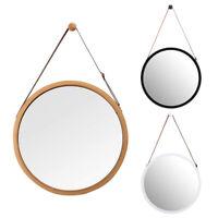 Hanging Round Wall Mirror in Bathroom&Bedroom-Solid Bamboo Frame&Adjustabl Q5L6