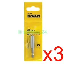 "3 x DeWalt Superior 60mm Magnetic 1/4"" Screwdriver Bit Holder (fits Makita Bosch"