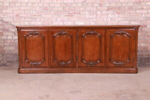 Baker Furniture French Country Carved Walnut Sideboard Credenza, Newly Refinishe