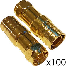 100x PRO Outdoor CT125/WF125 F-Type Hex Crimp Connector Plug – Thick Coax Cable