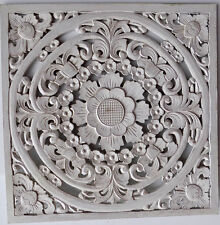 Pannello floreale in legno mdf traforato a mano cm 60x60 bianco quadro dipinto