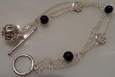 925 Silver 7.5gram Black Onyx stone multi Bracelet