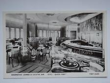 QUEEN MARY Cunard nave ship liner paquebot lloyd old postcard lounge first class