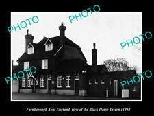 OLD LARGE HISTORIC PHOTO FARNBOROUGH KENT ENGLAND, THE BLACK HORSE TAVERN c1950