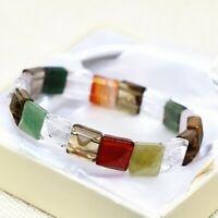 Hot Women Square Faceted 10*10mm Chalcedony Jades Bracelet AAA 7.5""