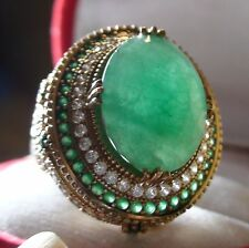 BIG! 17.85ct KGCL CERTIFICATE NATURAL UNHEATED EMERALD RING 925 SILVER.SIZE 9.0