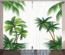 Tropic Curtains Coconut Palm Tree Plants Window Drapes 2 Panel Set 108x84 Inches