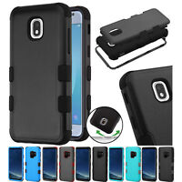 FOR SAMSUNG GALAXY J3 2018 3-PIECE HYBRID RUGGED IMPACT CASE RUBBER COVER+STYLUS